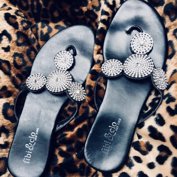 f9ceb349a775 Fibi   Clo Shoes - Fibi   Clo New York Black Bling sandals ...